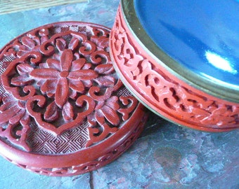 Beautiful Red Carved Cimeron Lacquer Chinese Round Box