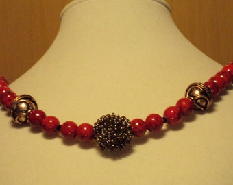 Beet Red, Antiqued Copper with Swarovski Crystal Sprinkled Throughout.