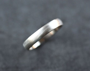 White Gold Men's Wedding Band, Brushed Men's or Unisex 4mm Low Dome Recycled 14k Palladium White Gold Wedding Ring - Made in Your Size