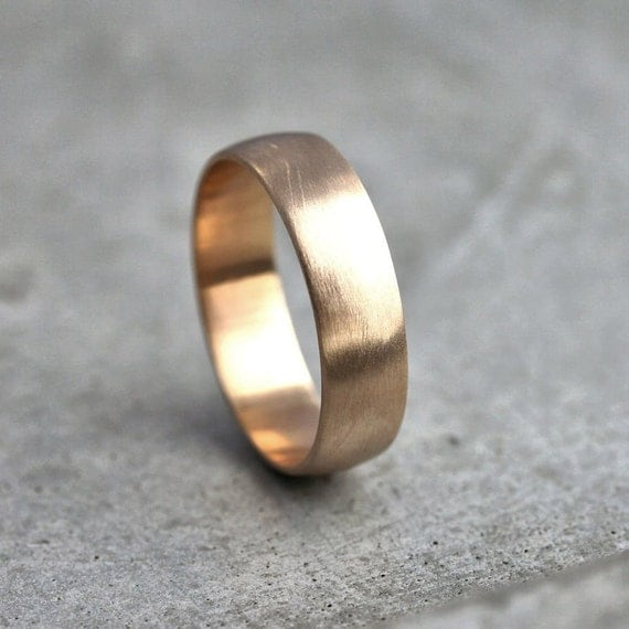 Wide Men's Gold Wedding Band, Recycled 14k Yellow Gold 6mm Brushed Low Dome Man's Gold Wedding Ring - Made in Your Size
