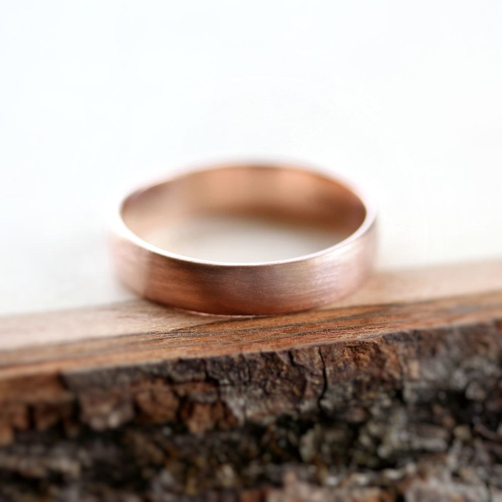 rose gold mens wedding band brushed 45mm low dome 14k recycled hand carved rose - Mens Rose Gold Wedding Rings