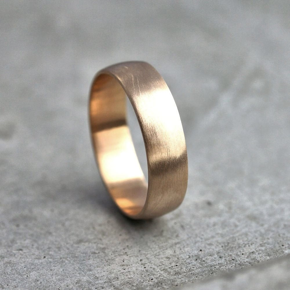 Wide men39s gold wedding band recycled 14k yellow gold 6mm for Mens wedding rings yellow gold