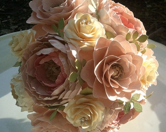 Paper Flower Bouquet - Wedding Bouquet - Shabby Chic - Pink and Ivory - Made to Order - Any Color Combo