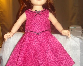 Handmade 18 inch Doll hot pink Leopard top & skirt set - AG20