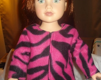 Handmade 18 inch Doll jacket in hot pink Zebra fleece - AG54