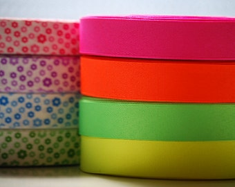"10 YDs x 1"" SOLID NEON Grosgrain Ribbon (4 Color Choices)"