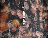 "Silk fabric, vintage style floral print crepe de chine silk fabric, pure silk fabric, dress fabric, one yard by 44"" wide"