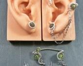 Custom Ear Wrap/Earrings Set in your choice of stone - Steampunk Jewelry