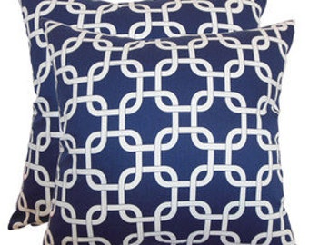 Pillow Cover  Cushion 20x20   navy links pattern
