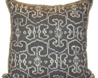 Pillow Cover Cushion 20x20  charcoal gray   ikat suzani   geometric  pattern  , other sizes available,