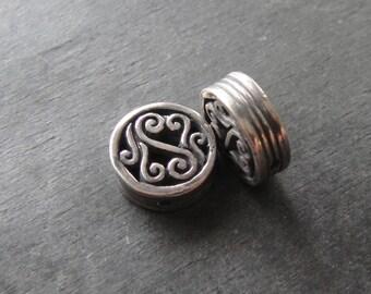 Bali Sterling Silver Scroll Bead, 1 Bead, Handmade Silver Bead, Artisan Jewelry, Handmade Jewelry, Artisan Jewelry