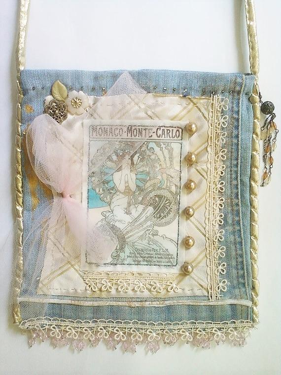 denim shoulder bag with art nouveau motifs. Black Bedroom Furniture Sets. Home Design Ideas