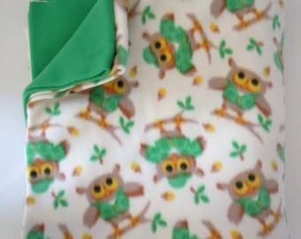 Green Owls Fleece Blanket - Extra Large