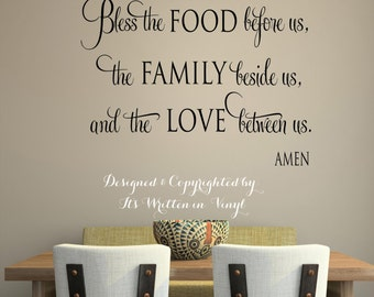 Bless the food before us -faith-Vinyl Lettering wall words graphics Home decor itswritteninvinyl