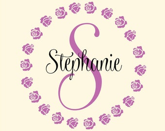 Personalized  Name  Monogram Roses flower- girls-childrens - Vinyl Lettering wall words graphics  decals  Art Home decor itswritteninvinyl
