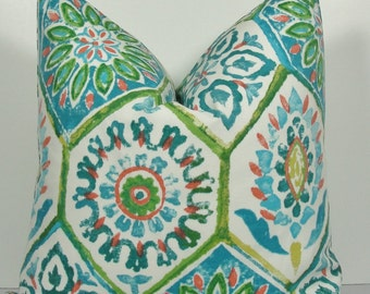 Moroccan Ikat Decorative teal Pillow cover Indoor/Outdoor both sides Throw pillow turquoise aqua blue orange green accent zipper pillow