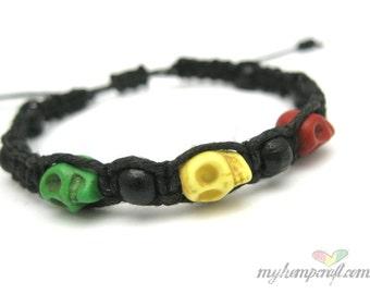 Rasta Skull Hemp Bracelet with Black Wooden Beads