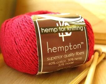 Hemp Cotton Yarn, Ruby Red DK Weight 130yd Hemp/Cotton/Modal Blend