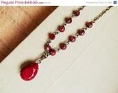ON SALE Valentine Red Necklace, Vintage Inspired