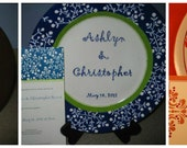 Custom Ceramic Plate for wedding, birthday, anniversary, baby shower, bridal shower or party to match your invitation or theme
