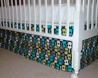 Baby boy Crib Skirt, Michael Miller Groovy Guitars in Lagoon with Pleats. Nursery Bedding. Baby Bedding. Baby Decor. Custom Nursery.