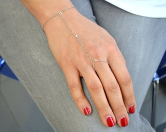 Silver chain slave bracelet with tiny cubic zirconia with chain ring finger Kardashian inspired. S2124