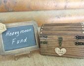 Rustic Wedding Box Set with Chalkboard Sign - Honeymoon Fund, Guest Book Alternative - -Personalized Heart, Slot, Lock/Key Set ALL Inclusive