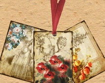 Vintage SEPIA BACKGROUND TAGS  atc  aceo Digital Cards 326 Instant download- jewellery holders, scrapbooking  cards, Victorian