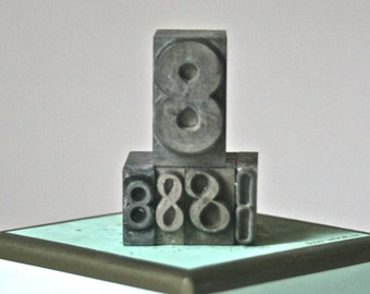 Antique Number 8 Letterpress Type for Printing Stamping Home Decor