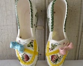 Vintage Shoe Wall Pockets with Strawberry Design - Mid-Century 1950s - Made in Japan by Trimont - Pair of Two Shoes