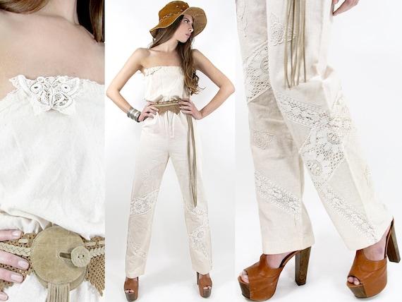 70s CROCHET LACE Jumpsuit Butterfly Vintage Pantsuit - Vintage Clothes by TatiTati Vintage on Etsy
