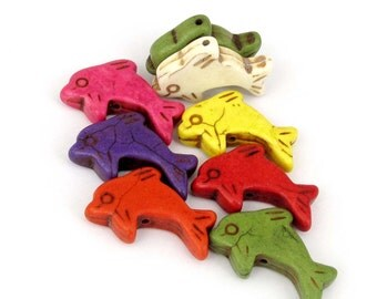 15Pcs/15Pieces Stone Double Sides Carved Dolphin Loose Spacers Beads Accessories Finding 29mm x 20mm x 7mm  ja543