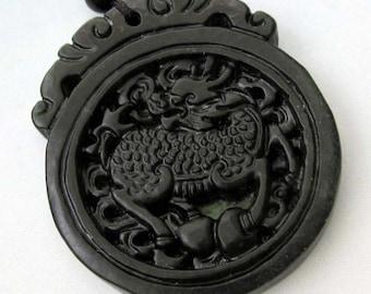 One Bead Natural Stone Pendant Kylin Qilin Dragon Good Luck Gourd Amulet Talisman 45mm x 40mm  TH014