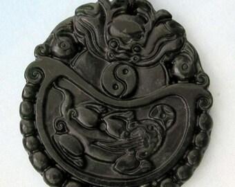 Natural Stone Dragon Pi-Xiu Tai-Ji 8-Diagram Amulet Talisman Pendant Bead For Handwork--One Piece 50mm x 45mm  TH060