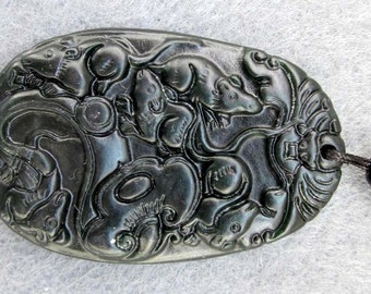 Natural Stone Pendant Carved Five Rats Bat Ru-Yi Fortune Pendant Bead Good Luck 44mm x 30mm  TH086