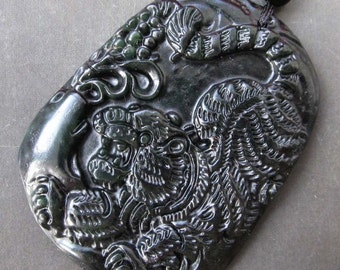 Natural Stone Lucky Tiger Amulet Pendant 48mm x 38mm  TH091