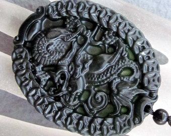 Natural Stone Carved Fortune Dragon Coin-Strand Amulet Talisman Bead Pendant 52mm x 43mm  TH105