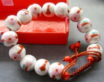 12mm Hand Crafted Porcelain Flower Beads Bracelet  T1838