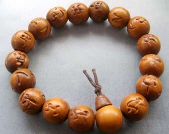 14mm Tibetan Jujube Wood Chu-Ru-Ping-An Prayer Beads Mala Bracelet For Meditation  T1830