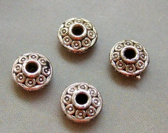 40Pcs Tibetan Style Alloy Metal Rondelle Flower Base Link Beads Supplier Jewelry ---40Pieces--- 7mm x 4mm  ja235