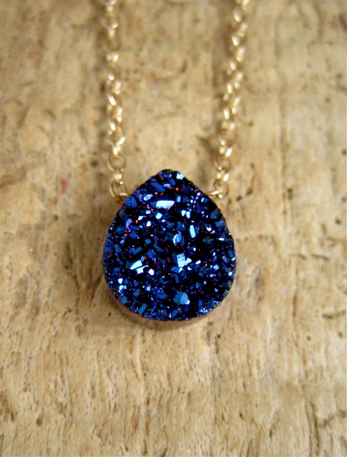 blue druzy necklace titanium drusy quartz 14k gold fill chain