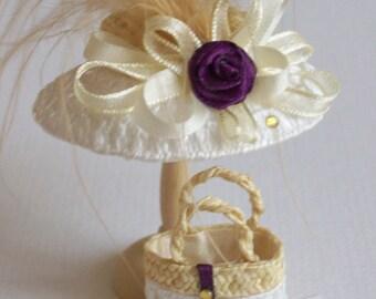 Handmade 1/12 miniature dollshouse ivory/pale gold straw hat and bag