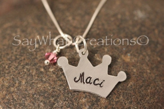 Custom Hand Stamped Princess or Queen Crown Necklace