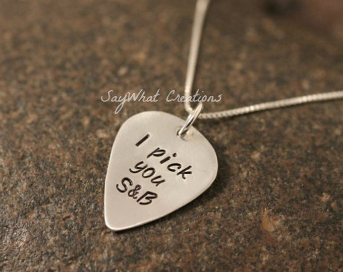 Custom Hand Stamped Sterling Silver Guitar Pick Necklace with Mini Guitar Pick