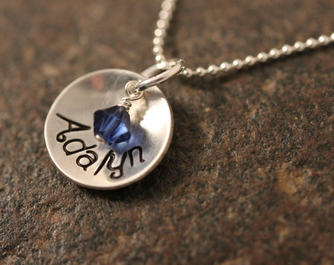 Custom Hand Stamped Sterling Silver Mothers Necklace One Small Cup with birthstone
