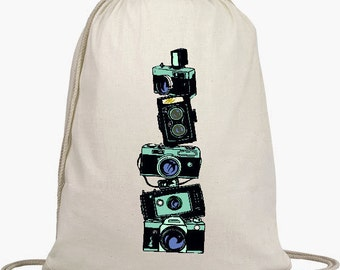 Cinch Sack Backpack - Drawstring Bags - Beach Bags - Natural Cotton Bag - Vintage Stacked Cameras