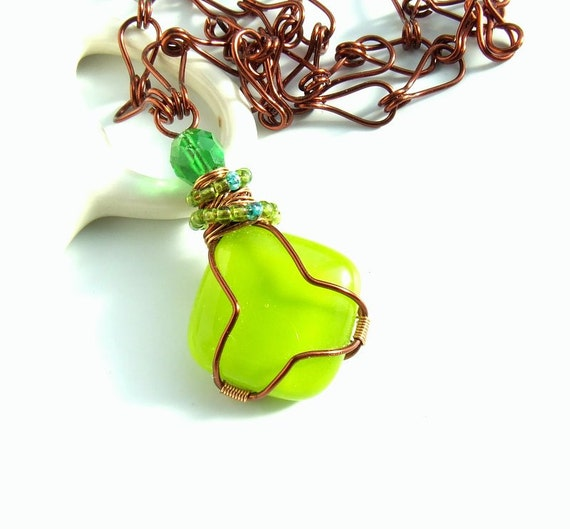 Apple green necklace fused glass pendant wire wrapped copper enameled jewelry