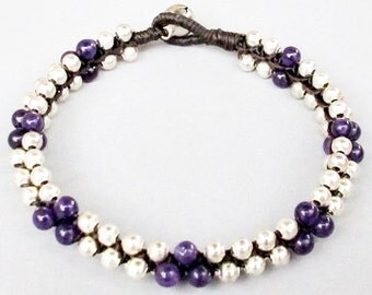 Round Amethyst Beaded with Silver Colour Bead Stud Bracelet B154