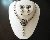 Black Bridal Jewelry  SET -  Necklace and  Earrings.Wedding jewelry - Rhinestone Necklace -Bridal Jewelry