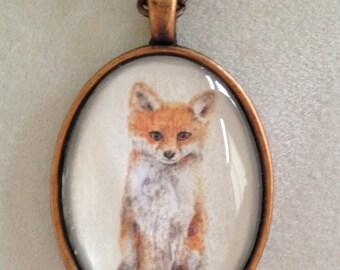 Little Fox annd Copper Pendant Necklace